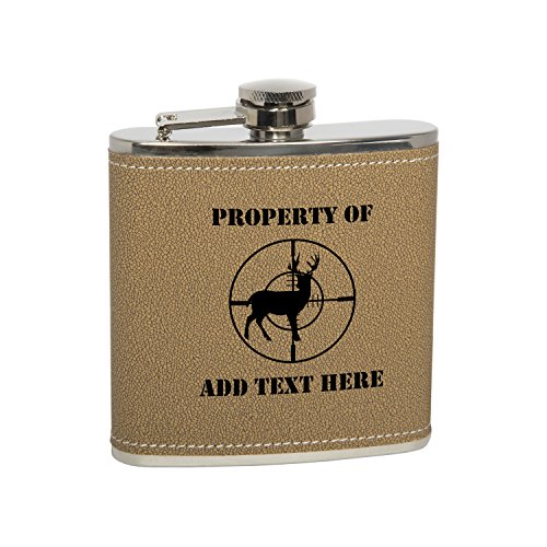 (Gift Box With 6 Oz Stainless Steel Leather Covered Hip Flask With Funnel - Deer Hunting Heartbeat Lifeline Personalized Engraved Gift for Men, Custom Wedding Gift - Monogrammed Black Text)