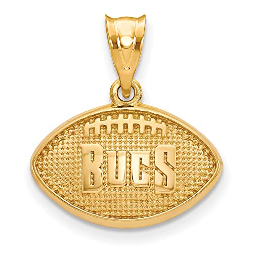 Kira Riley Gold Plated Tampa Bay Buccaneers Football Pendant for Chains and Necklaces (Tampa Bay Buccaneers Gold Plated)