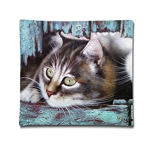 Phyllis Walker Pillow Shams Oil Painting Cats Square Throw Pillow Case Cotton Decorative Pillowcase Cushion Cover Sofa Bedroom 18