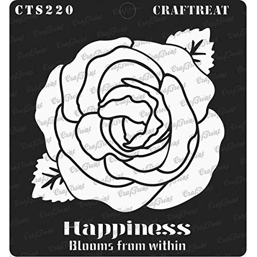 CrafTreat Stencil - Happiness Blooms from Within Reusable Painting Template for Journal, Home Decor, Crafting, DIY Albums, Scrapbook and Printing on Paper, Floor, Wall, Tile, Fabric, Wood 6x6 Inches ()