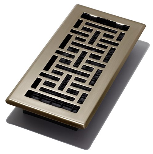 Decor Grates AJH410-A Oriental Floor Register, Antique Brass, 4-Inch by 10-Inch - Antique Floor