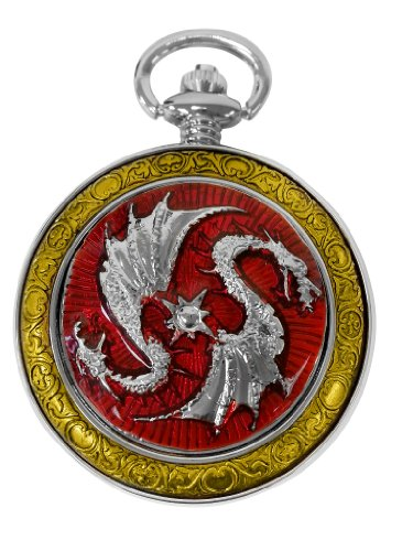 Celtic Womens Watch - Celtic Dragon Pocket Watch Red with Chain Steampunk for Men and Women by ShoppeWatch PW-74