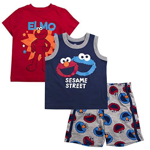 Sesame Street Boys 3PC Shirts and Short Set: Elmo & Cookie Monster -