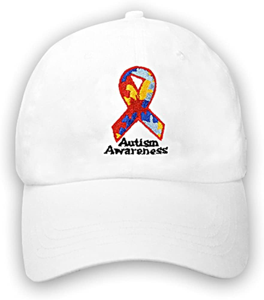 B002SYSYA4 Autism Awareness Ribbon Baseball Hats - White Baseball Hats with Embroidered Autism Ribbon for Autism Awareness Walks & Events(Wholesale Pack - 12 Hats) 51W2BUSzsdNL