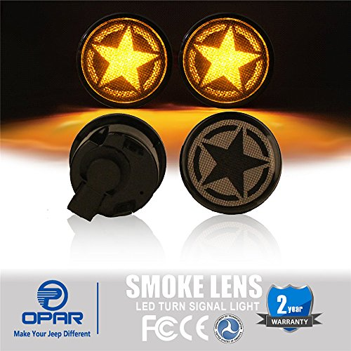 Opar Smoke Turn Signal Lights for 2007-2018 Jeep Wrangler JK & Wrangler Unlimited (Five Star LED)