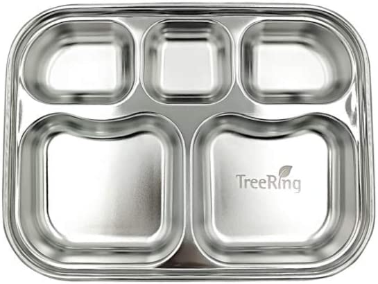 Treering Stainless Steel Divided Plates Diet Food Control Camping Dishes Kids Toddlers Babies Tray Compact Serving Platter BPA Free Dinner Snack 5 Compartment plate Silver