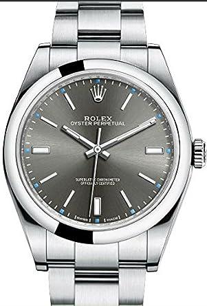 pour Homme en Acier Rolex Oyster Perpetual 39 mm Rhodium Cadran ...
