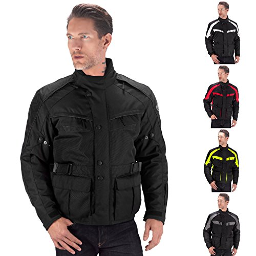 Viking Cycle Enforcer Armored Adventure Touring Textile Motorcycle Jacket For Men (Large, Black)