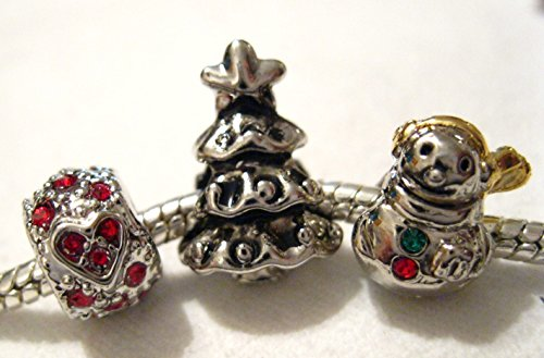 Christmas Snowman Tree Heart European Charm Beads Fits Pandora Bracelet by Pugster
