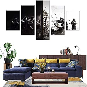Wall Art 5 Panels Painting on Canvas Tom Clancy's Rainbow Six Siege Ready to Hang for Home Decorations Wall Decor