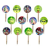 Party Over Here The Grinch Movie Double-Sided Cupcake Picks Cake Toppers -12 pcs, who Stole Christmas, Whoville, Dog Max, Cindy Lou Who