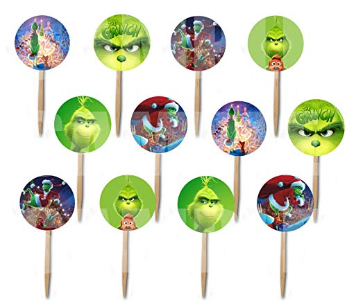 Party Over Here The Grinch Movie Double-Sided Cupcake Picks Cake Toppers -12 pcs, who Stole Christmas, Whoville, Dog Max, Cindy Lou Who]()