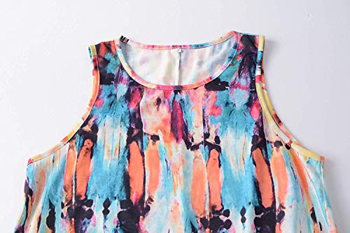Alivewise Women's Summer Sleeveless Bohemian Print Pocket Loose T-Shirt Dress