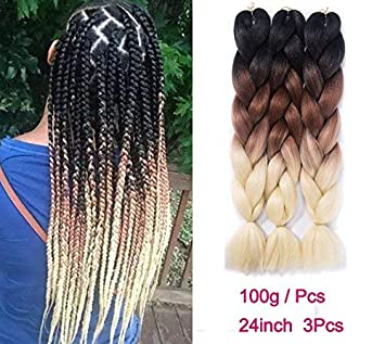 Amazon Com Kanekalon Braiding Hair Extensions Synthetic Fiber For Twist Jumbo Ombre Braiding Hair 24inch 3pcs Lot Black Brown 613 Beauty