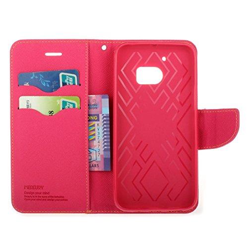 HTC 10 Funda,COOLKE Dos Colores Funda Carcasa Cuero Tapa Case Cover Para HTC 10 - Negro Marrón Yellow