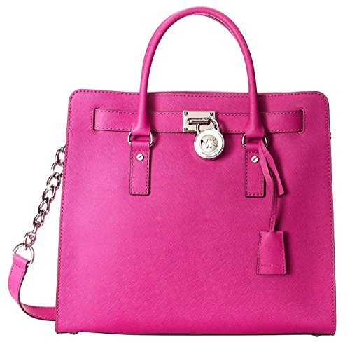 Michael Kors Fuschia Saffiano Leather Hamilton Large NS Tote Bag 30S2SHMT3L