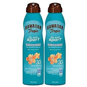 Hawaiian Tropic Sunscreen Island Sport Broad Spectrum Sunscreen Spray, SPF 30, 6 Ounce - Twin Pack