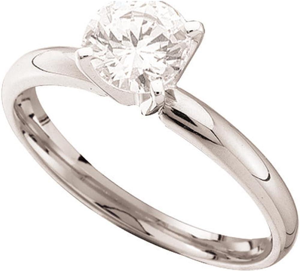 Anillo de compromiso de Lux de oro blanco de 14 quilates con diamante redondo para mujer, para novia, boda, compromiso, 5/8 quilates = 0,66 (claridad I1; color J-K) tamaño de anillo 10,5