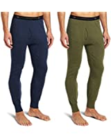 Duofold KMO3 Men's Double Layer Thermal Pant XL 1 Blue Jean + 1 Olive Heather