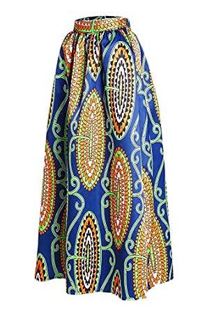 Afibi Mujer Africano Impreso Casual Maxi Falda Quemado Falda ...
