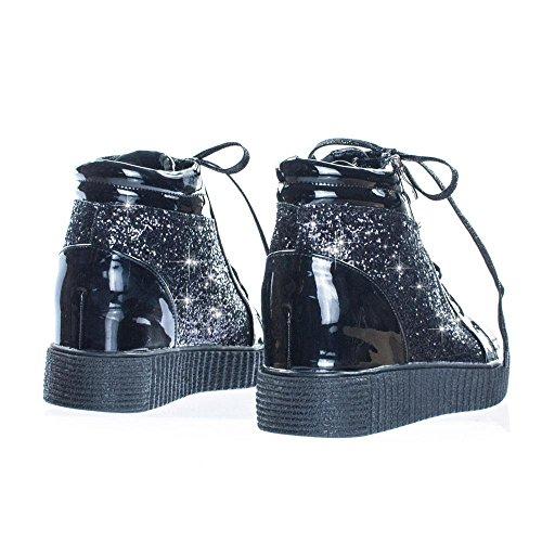 Voor Altijd Koppelen Dames Retro Glitter Sneakers Oxford Veter Platform Wig Klimplant (7.5, Zwart)