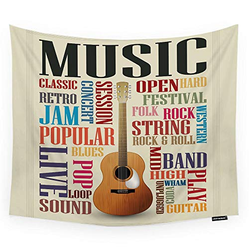 HGOD DESIGNS Music Tapestry Wall Hanging Abstract Music Poster with Classic Guitar and Quote Room Decorative Wall Tapestry for Men/Women/Girl/Boy Polyester 60