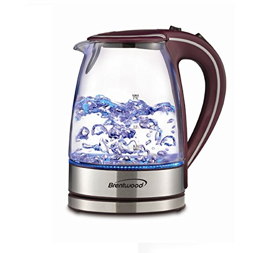 Brentwood Appliances KT-1900PR Tempered Glass Tea Kettles, 1.7-Liter, Purple