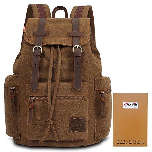KAUKKO Damen Herren Canvas Vintage Rucksäcke Leder Schulrucksack Rucksack mit Großer Kapazität Khaki