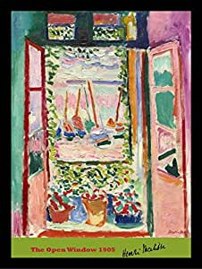 buyartforless IF MUS050X 16x12 1.25 Black Plexi Framed The Open Window 1905 by Henri Matisse 16X12 Art Print Poster Wall Decor Museum Master Still Life