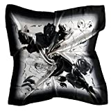 VIGOO® Girls Lady 32'' Elegant Flower Square Silk Scarf Shawl Wrap White Black