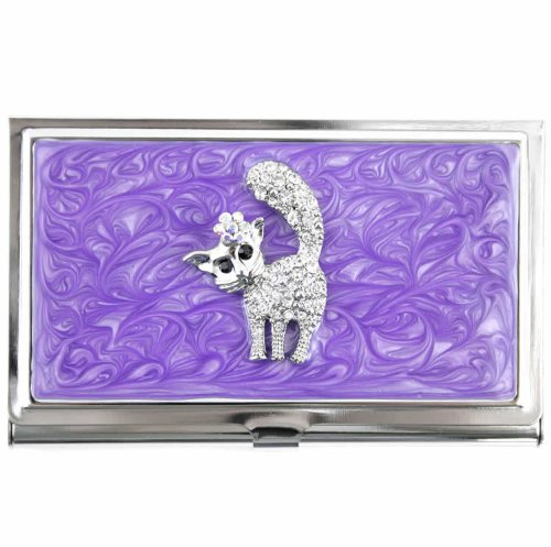 Metal Business Card Holder Case w/a Rhinestone Encrusted (Kitty Business Card)