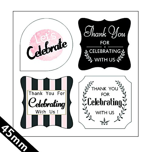 (Thank You For Celebrating With Us) 80 Black And White Label Stickers tags-Wedding,Birthday,Baby Bridal Shower,Graduation, Anniversary, Business, Party Favors.