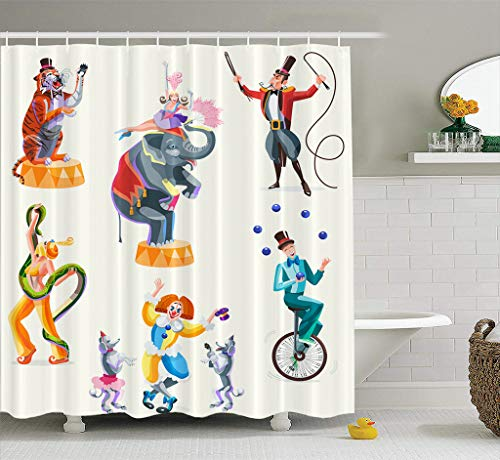 Tyfuty Feathers Fabric Shower Curtain 72x78 inches Circus Characters Tiger and Woman with Snake Girl and Elephant Waterproof Bathroom Shower Curtains Set of 12 Hooks -