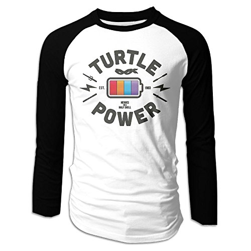 Puppylol Men's Turtle Power Long Sleeve Raglan Baseball Tee S