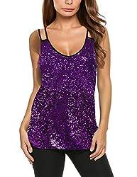 Purple Sleeveless Sequin Tank Top