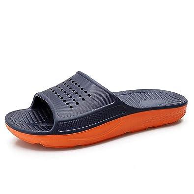 4dcc50c7f202 HSBUY Men s Anti Slip Slide Sandals Shower Sports Slides Athletic Sandals  Dark Blue