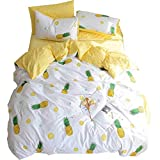 VClife Pineapple Printed Bedding Sets Chic Soft Duvet Cover with Zipper -3 Pieces Reversible Geometric Bedding Comforter Cover Sets, King Hotel Quality White Yellow Bedding Collection for Teens Adults