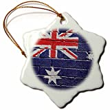 3dRose ORN_155174_1 National Flag of Australia Painted onto a Brick Wall Australian Snowflake Ornament, Porcelain, 3-Inch
