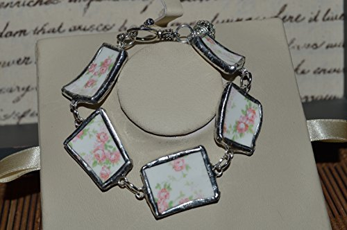 Recycled Broken Pope Gosser China Jewelry, Sterling Pink Floral Bracelet 9""