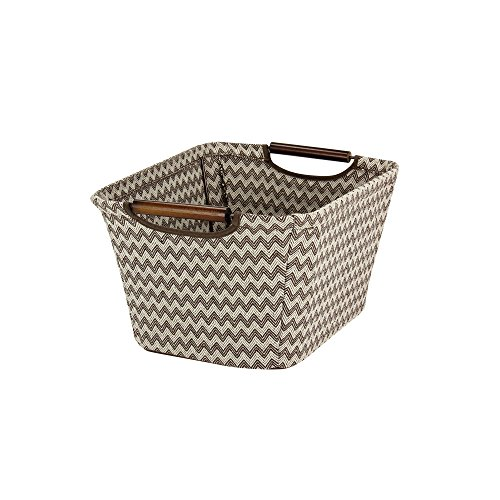 Tapered Storage Basket - Household Essentials 660-1 Small Tapered Fabric Storage Bin with Wood Handles | Brown Chevron