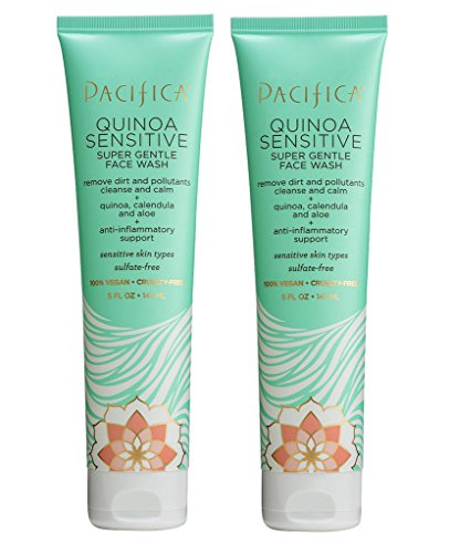 Pacifica Quinoa Sensitive Super Gentle Face Wash and Facial Cleanser For Removing Makeup and Toxins With Aloe Vera, Calendula and Rice Extract, 5 fl. oz. (Pack of 2) ()