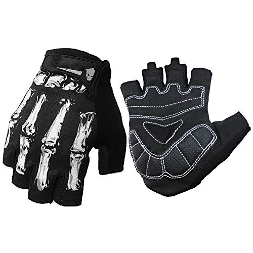 Linlyca Breathable Anti Slip Half Finger Cycling Gloves Shockproof Motorcycle Gloves Bicycle Riding Gloves Racing Bikeing Gloves with Skeleton Pattern for Men Women (White, M)