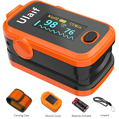 (Ulaif Fingertip Pulse Oximeter with OLED Display Portable Oximetry Blood Oxygen Saturation Monitor SpO2 Finger Pulse Oximeter Readings with Carrying Case Silicon Case Lanyard and Batteries)