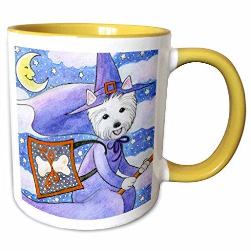 [3dRose Laura J Holman Art Westie Halloween Witch - West Highland Terrier Westie Westie in costume witch Halloween Halloween Westie dog - 11oz Two-Tone Yellow Mug (mug_23301_8)] (Westies In Costumes)