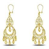 14k White Gold Diamond-Cut Fancy Chandelier Dangle Hanging Drop Earrings (19 X 50mm)