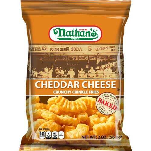 Nathans Snack - Nathans Cheddar Cheese Crinkle Fries, 2 Ounce 6 count per pack -- 2 per case.