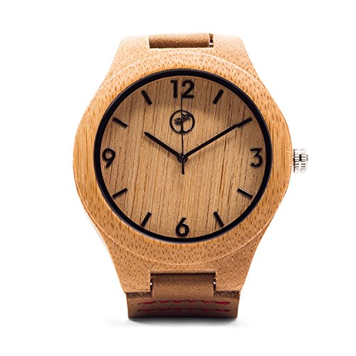 Wooden Watch for Men by Tree People: Bamboo Wood Case, Genuine Cowhide Leather Watch Strap, Miyota Quartz - Style Watch Peoples