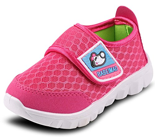 (DADAWEN Baby's Boy's Girl's Mesh Light Weight Sneakers Running Shoe Rose Red US Size 12 M Little Kid)