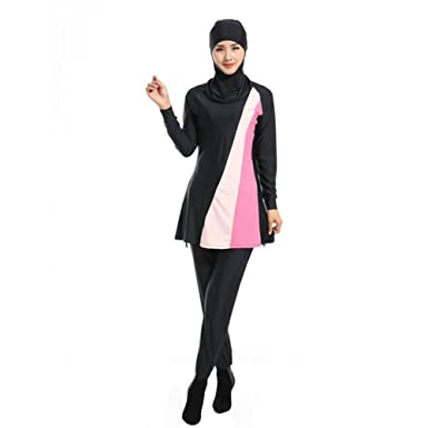8dc16f77852 Zhuhaixmy Full Cover Modest 2-Pieces Muslim Swimwear Attached Hijab Islamic  Arab Middle East Malaysia