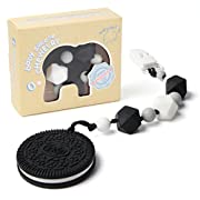 Teething Pain Relief Silicone Cookie and Pacifier Clip Holder for Trendy Boy or Girl, Black and White Teether Toys, Best as Baby Shower Infant Newborn 0 3 6 Months 1 Year Old Unique Gift